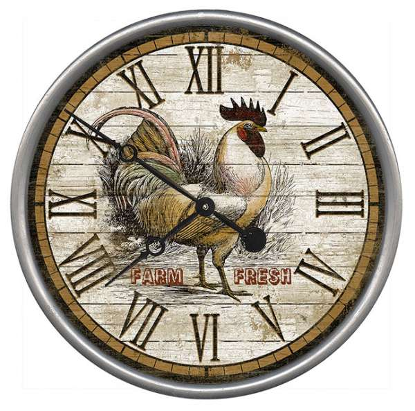 Country Rustic Rooster Wood and Metal Wall Clock