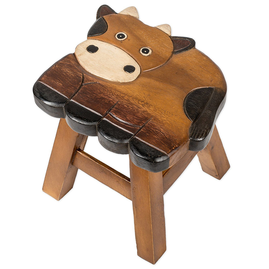 Cornelius the Cow Handcrafted Wood Stool Footstool for Children is a great item to have for seating, bathroom trips, a boost for animals too.