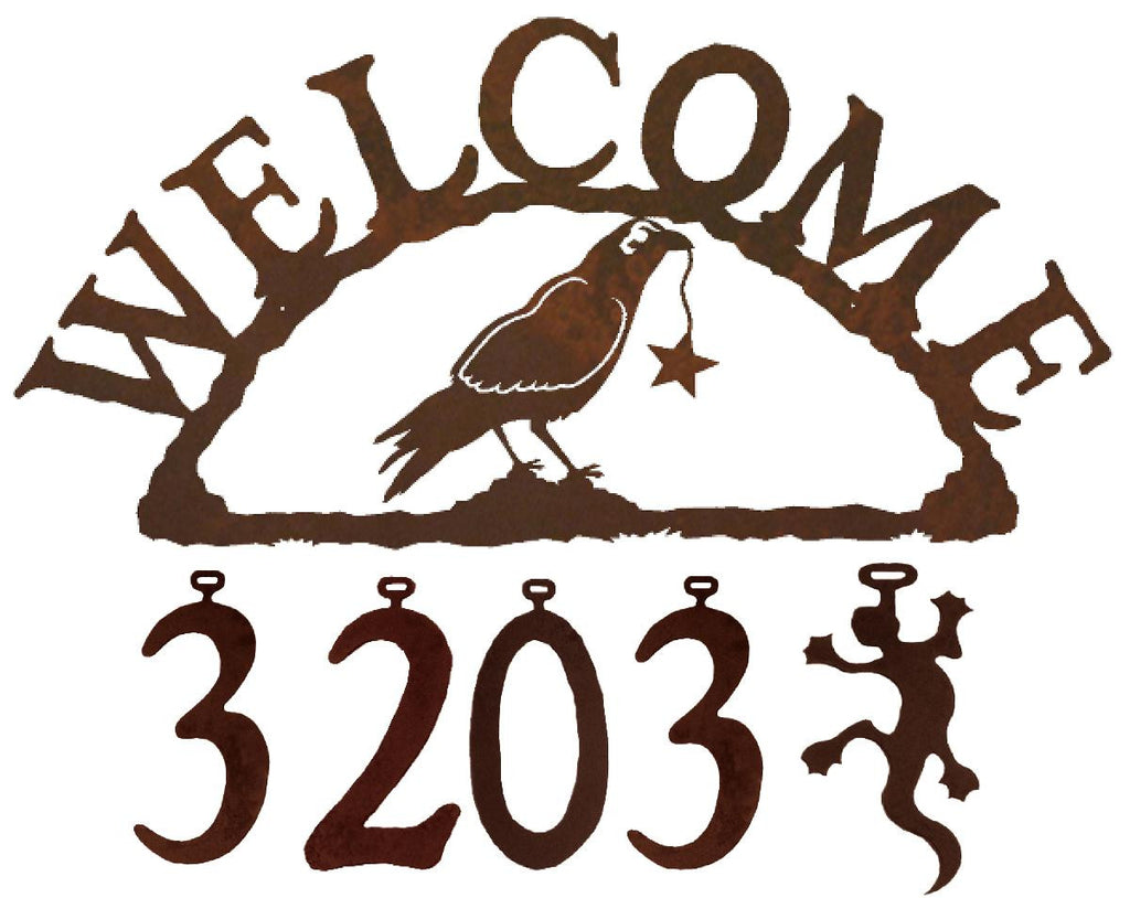 Our Crow Handcrafted Metal Welcome Address Sign is a great addition for your cabin or home and you can customize it with hanging numbers and symbols of your choice