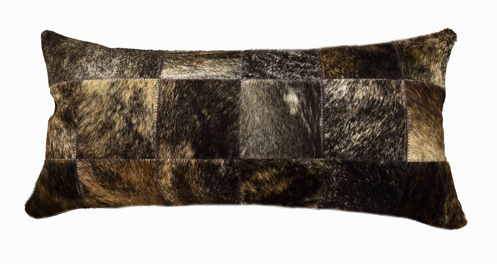 "Dark Brindle Cowhide Patchwork Lumbar Pillow is 20"" long x 12"" tall and features an assortment of dark brindle cowhide colors … all patchworked together to make a decorative pillow."