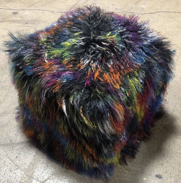 Our brand new color, Dark Confetti, Multi-colored, Tibetan/Mongolian Lamb Fur Pouf Ottoman, is sure to be a hit in your home. With so many vibrant colors, it will be loved by adults and children too.