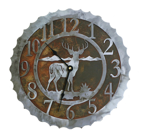 Deer Handcrafted Metal Wall Clock - 12 inch