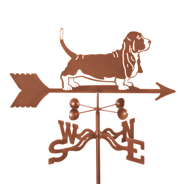 Combine function and yard art with our Basset Hound Dog Rain Gauge Garden Stake Weathervane