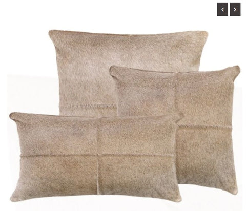 "Our Driftwood Cowhide Reversible Throw Pillows With Down Filled Insert picture shows all three sizes. 22""x13"" lumbar, 18"" square and 22"" square. Whether use them alone or together, they are beautiful accent pillows for any room in your home"