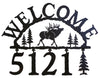 Our Elk Handcrafted Metal Welcome Address Sign is a great addition for your cabin or home and you can customize it with hanging numbers and symbols of your choice
