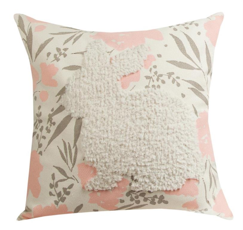 Embossed and Tufted Bunny Indoor Throw Pillow - 17