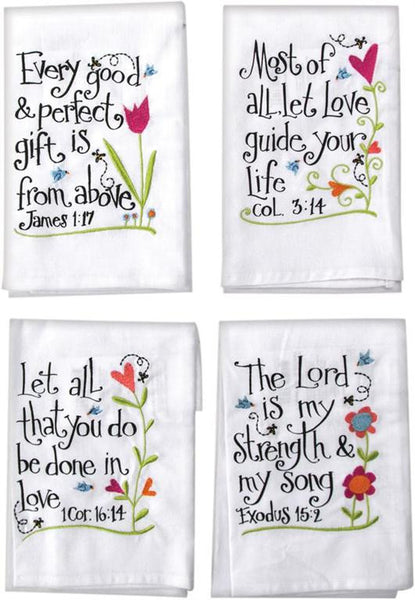 These very colorful Embroidered Inspirational Hand Towels With Scriptures (set of 4) will add an inspiring message to your kitchen, bathroom, or even as inspirational gifts.