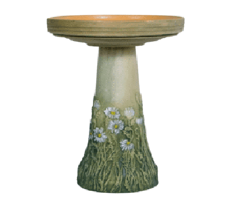 Our English Daisies Handcrafted Clay Birdbath Set is beautifully handcrafted and painted in the USA