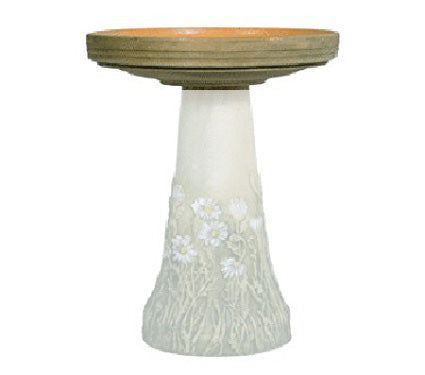 English Daisies Handcrafted Clay Birdbath - Replacement Top Only