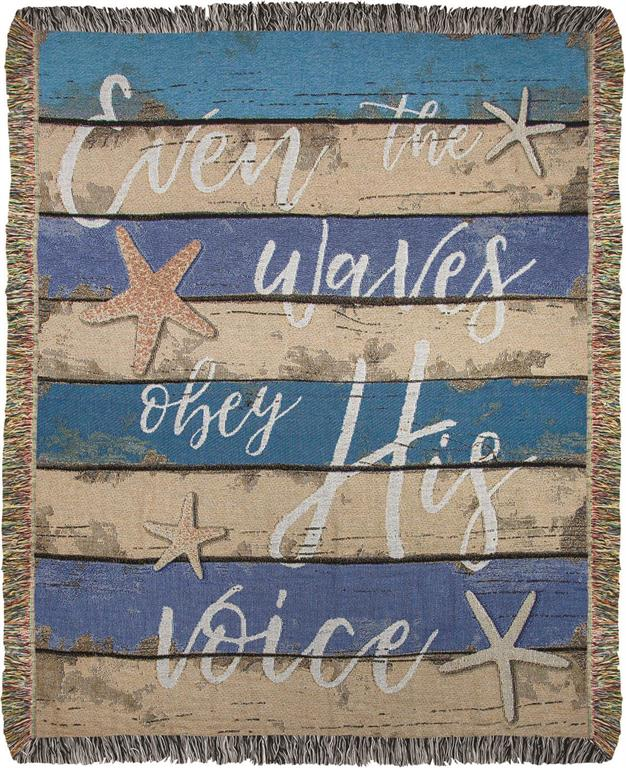 Our Even the Waves Obey His Voice Inspirational Throw Blanket is a bit nautical and also wonderful as an inspirational wall hanging