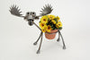 Our custom made Moose Recycled Scrap Metal Statuary and Potted Plant Holder is great for indoor and outdoor use