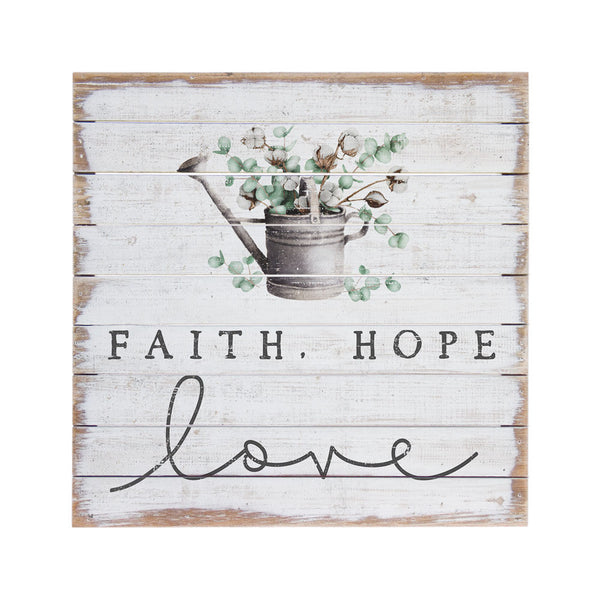 "Our Faith Hope and Love Inspirational Wood Wall Sign features this heart warming sentiment and is a great wall décor piece for anywhere in your home. Makes a great gift. Size is Size is 14"" tall x 14"" wide x 2"" deep."
