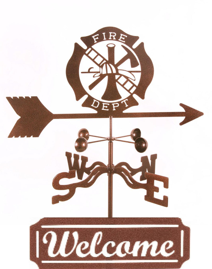 Combine function and yard art with our Fire Department Rain Gauge Garden Stake Weathervane and Welcome Sign