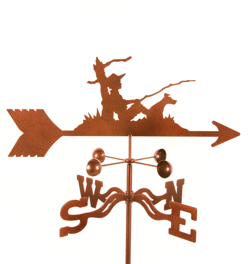 Combine function and yard art with our Fisherman and His Dog Rain Gauge Garden Stake Weathervane