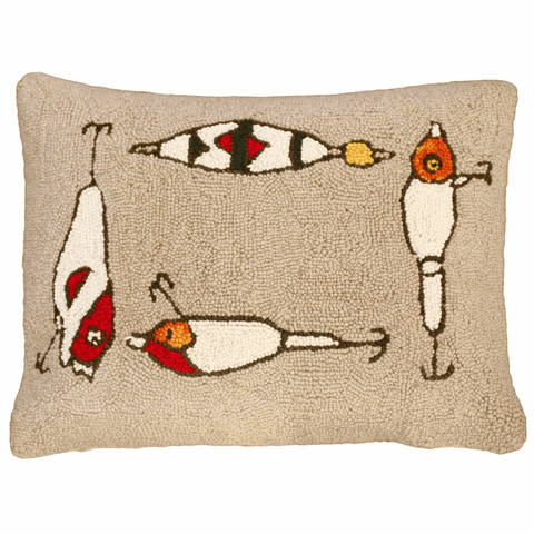 "Fishing Lures Hand Hooked Wool Pillow – 16"" x 20"""