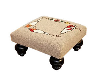 Our Fishing Lures and Rods Handcrafted Hooked Wool Footstool for your home, cabin or man/woman cave