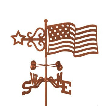 Combine function and yard art with our American Flag Rain Gauge Garden Stake Weathervane