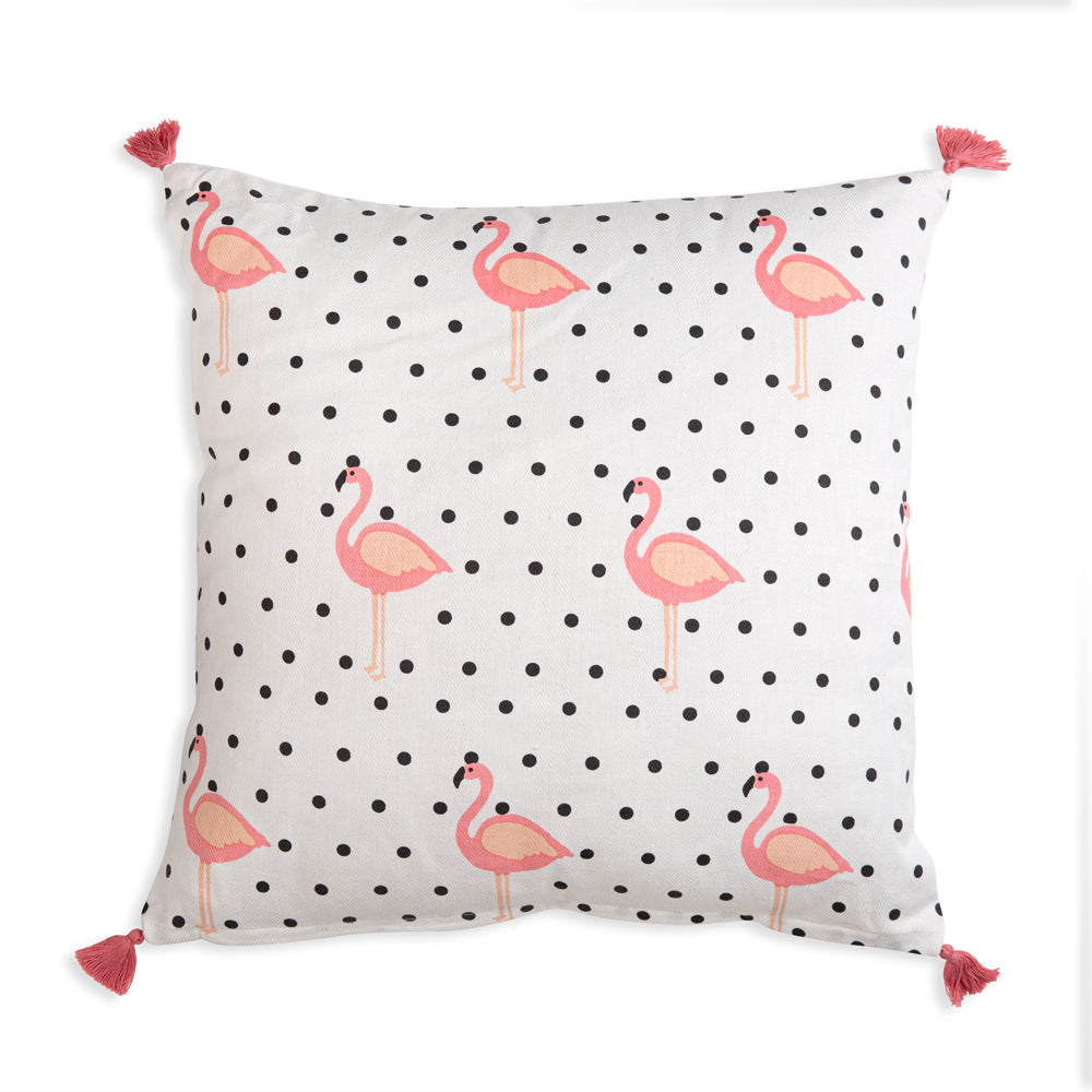 Add color and flair to your home with our Flamingo Black and White Polka Dots Throw Pillow