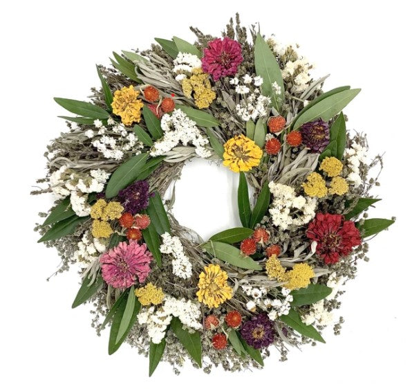 "Our Floral and Herb Dried and Preserved Wreath is 20"" in diameter and features an array of sweet herbs along with striking dried florals"