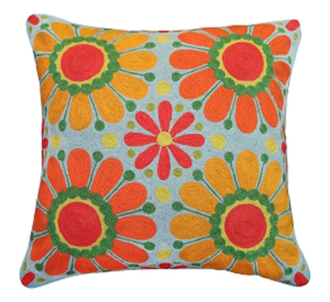 Add creativity and color to your home with our Flowers of Peace and Love Handcrafted Embroidered Pillow (20