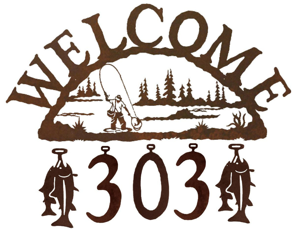 Our Fly Fisherman Handcrafted Metal Welcome Address Sign will be custom made for you and features 5 personalized numbers and or figures to create a sign that is especially for you