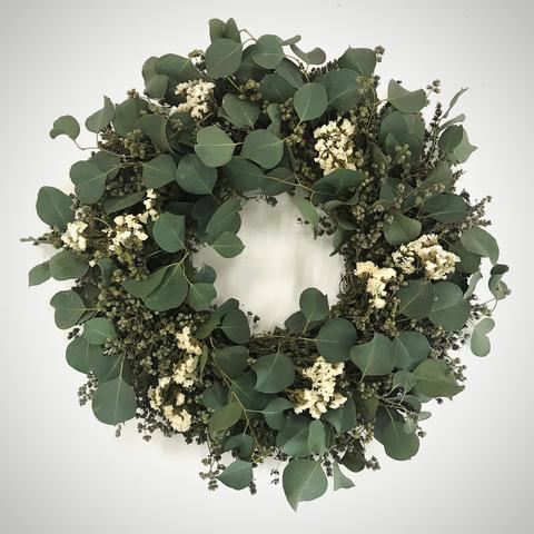 "This custom made to order Fragrant Marjoram and Eucalyptus Leaves Wreath (20"") will look and smell beautiful anywhere in your home"