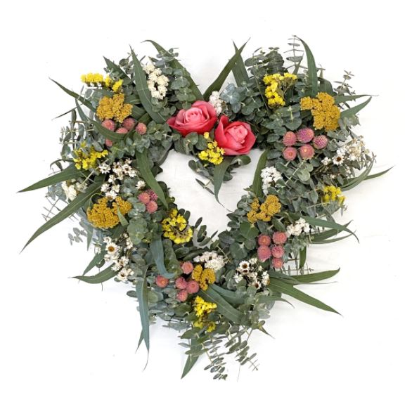 Fresh Eucalyptus and Dried and Preserved Florals Heart Wreath – 18""