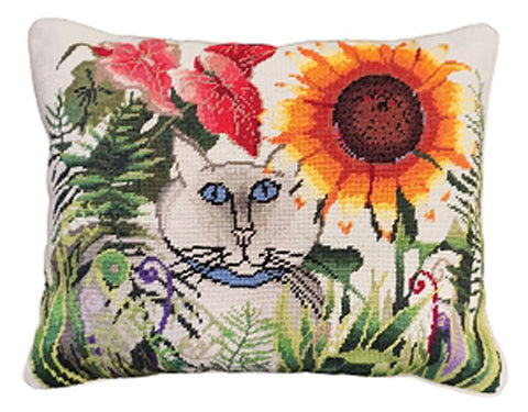 "Add color and style to your home with our Sunflower Garden Cat Handcrafted Needlepoint Pillow (16x20"")"