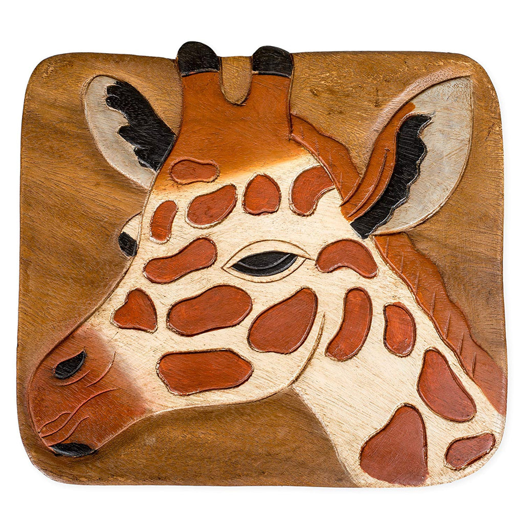 Giraffe Handcrafted Wood Stool Footstool