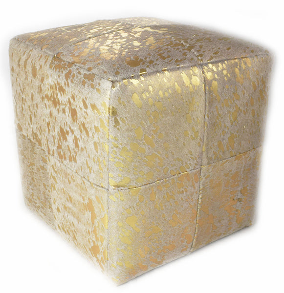 Add style and function to your home with ourGold Acid Wash Designer Cowhide Cube Pouf Stool Ottoman