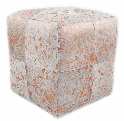 Golden Rose Acid Wash Designer Cowhide Cube Pouf Stool Ottoman