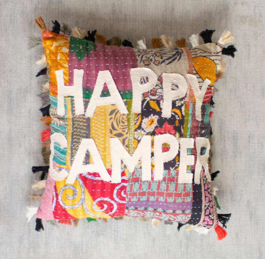 Add color and style to your home and RV with our handcrafted to perfection, Happy Camper Patchwork Word Throw Pillow