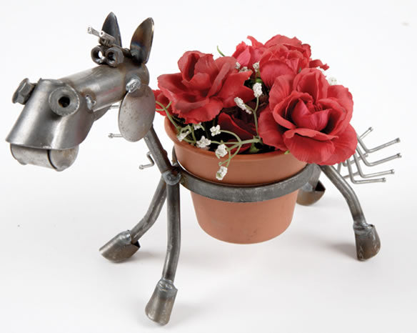 "Our Horashio the Horse Recycled Scrap Metal Statuary and Potted Plant Holder is handcrafted here in the USA and can hold a 4"" pot of your favorite flowers or remove the pot and use it as a gazing globe holder."