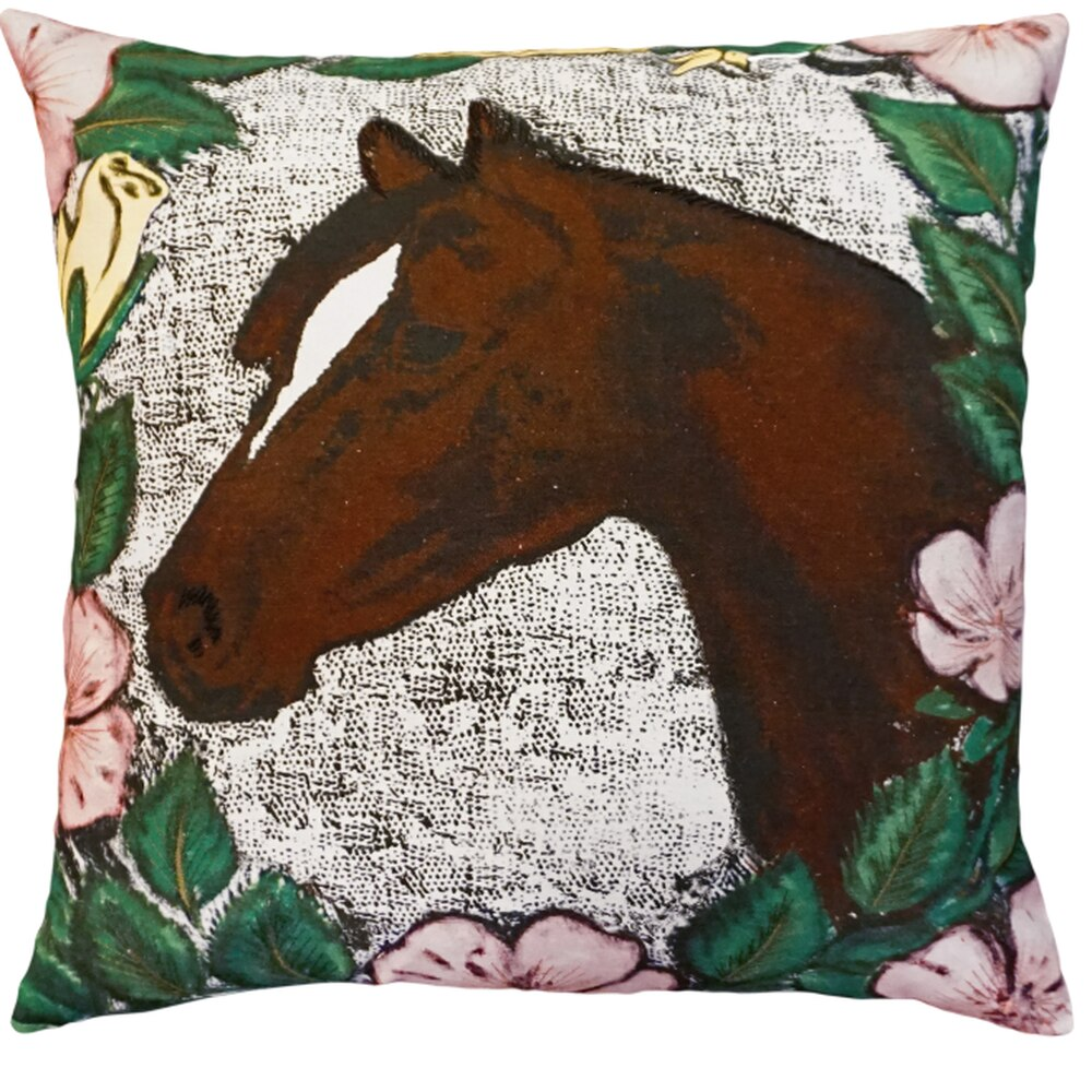 "Our  Horse Printed and Embroidery Embellished Throw Pillow is 20"" square and comes with your choice of polyester filling or, for an upcharge, you can have your pillow stuffed with down (duck) feathers."