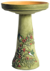 Our Hummingbird Handcrafted Clay Birdbath Set on the green moss background is beautifully handcrafted and painted in the USA