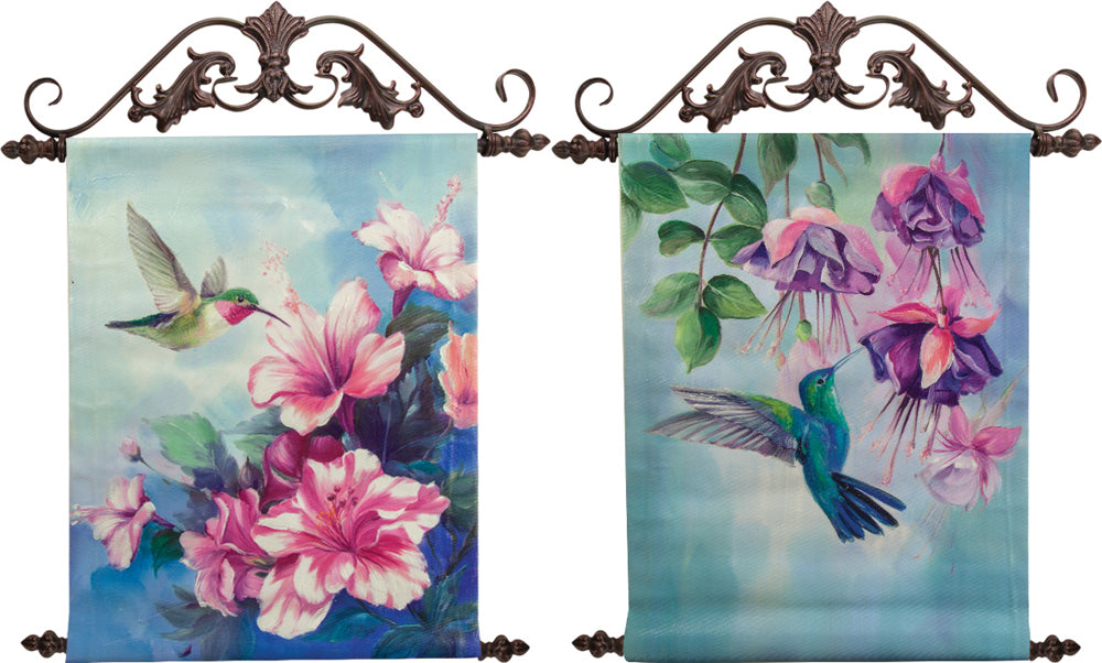 Hummingbird Hand-Painted Canvas Wall Art with Ornate Scrolled Iron Toppers (Set of 2)
