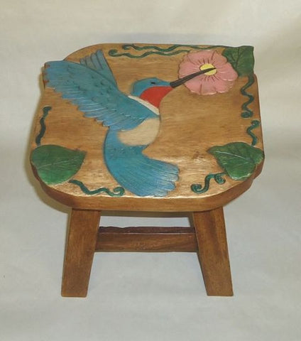 Our Hummingbird Wood Footstool has been beautifully hand carved, painted and stained with amazing detail