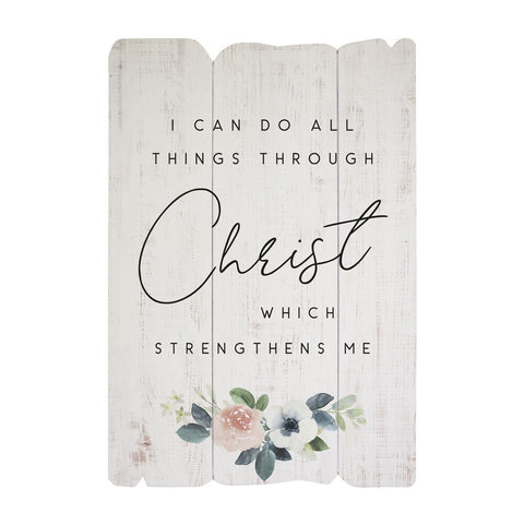 "Our Can Do All Things Thru Christ… Inspirational Wood Sign features a beautiful inspirational statement with scripture, ""I can do all things thru Christ which Strengthens Me"" - Philippians 4:13.  Handcrafted here in the USA, this inspirational wall art quote has been printed on sturdy grooved MDF wood. Size is 20"" tall x 14"" wide x .25"" deep"