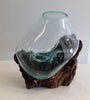 "Our medium sized Hand Blown Molten Glass and Wood Root Sculptured Terrarium / Vase / Fish Bowl (10x8"") is great many functions."