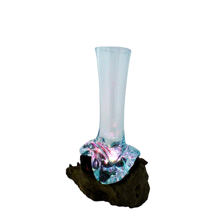 Our Illuminating Hand Blown Molten Glass and Wood Stem Vase is a one of a kind piece that illuminates under the glass