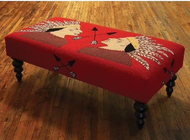 "Our Indian Scout Handcrafted Hooked Wool Bench features vibrant colors and is 47"" in length x 24"" deep x 16"" tall and great for entryway display or elsewhere in your home"
