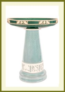 Replacement Birdbath Bowl Top for Jupiter Green High Gloss Glazed Ceramic Birdbath