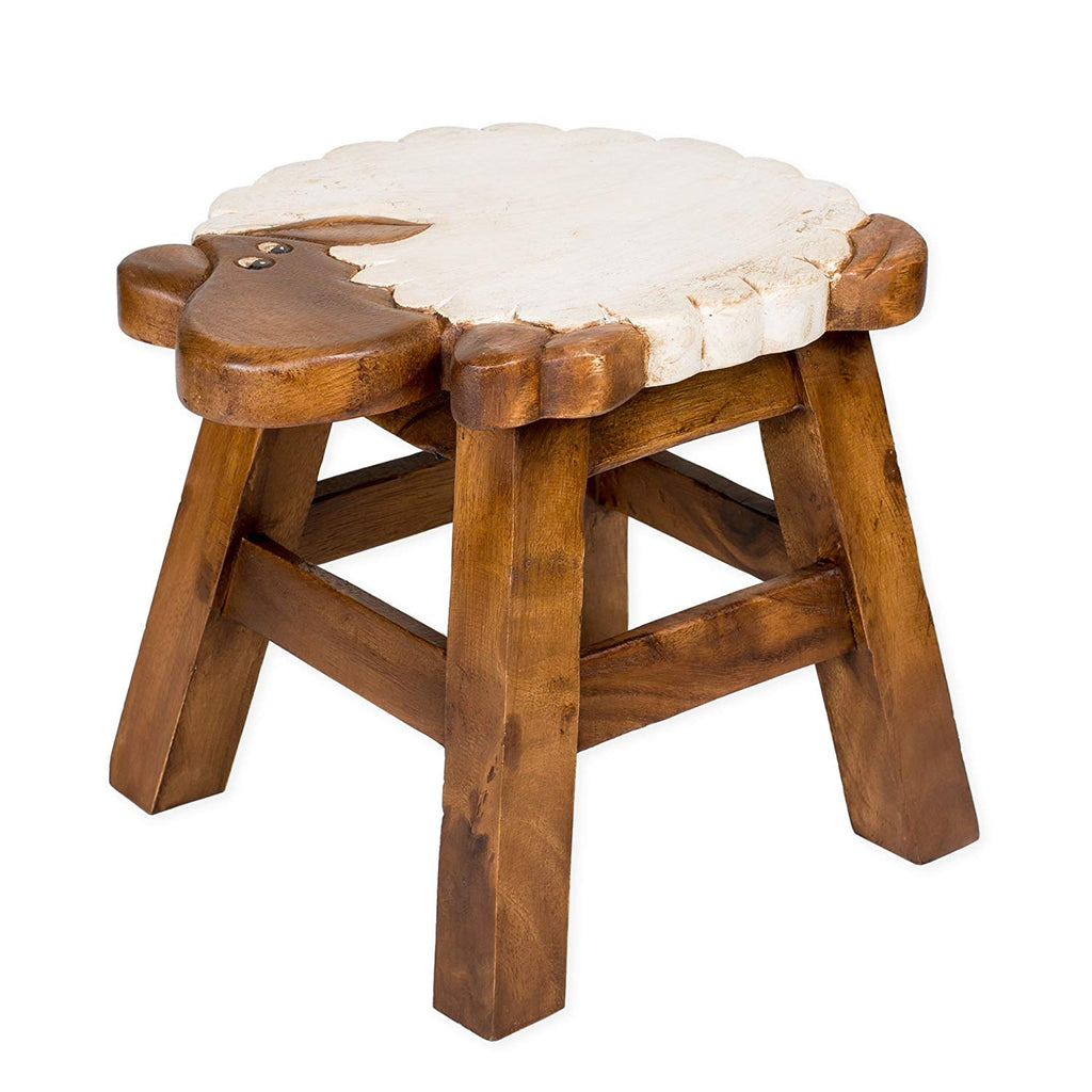 Lucy the Lamb Handcrafted Wood Stool Footstool for Children