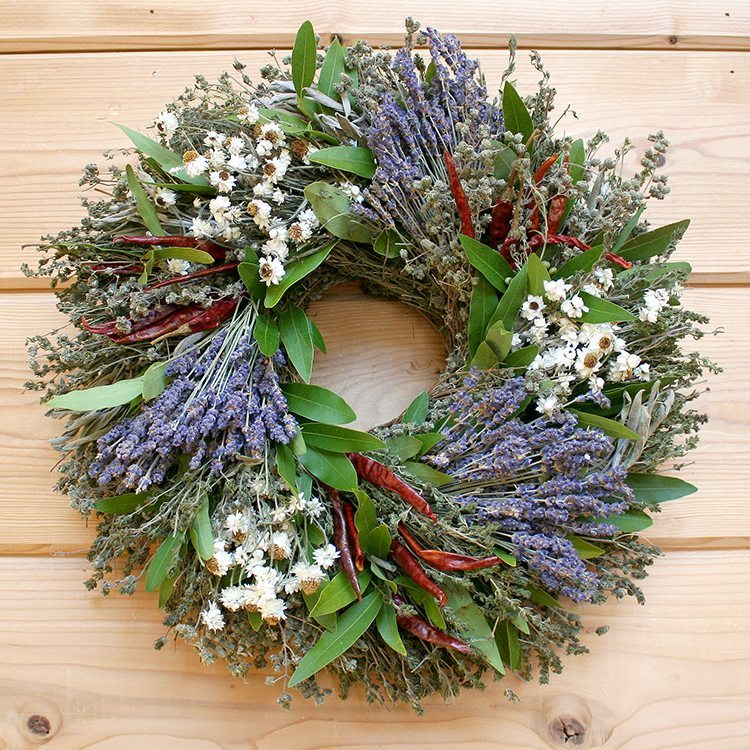 Lavender, Chili and Herb Natural Dried and Preserved Wreath - 16""
