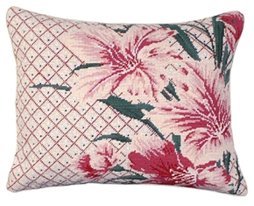 Add color and creativity to your home with our Liesl Lilies Handcrafted Needlepoint Pillow (16
