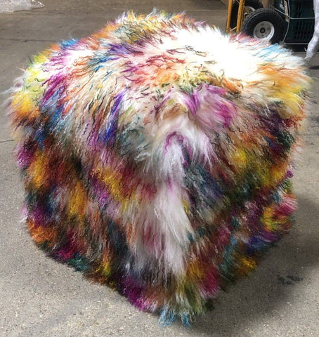 Our brand new color, Light Confetti, Multi-colored, Tibetan/Mongolian Lamb Fur Pouf Ottoman, is sure to be a hit in your home. With so many vibrant colors, it will be loved by adults and children too.