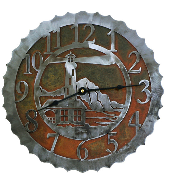 Lighthouse Handcrafted Metal Wall Clock - 12 inch