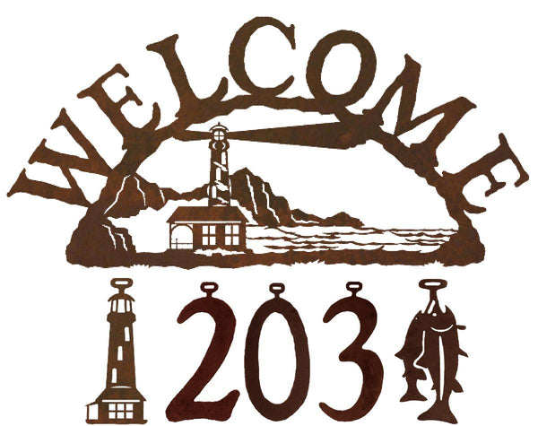 Lighthouse Handcrafted Metal Welcome Address Sign - Beach Series - inthegardenandmore.com