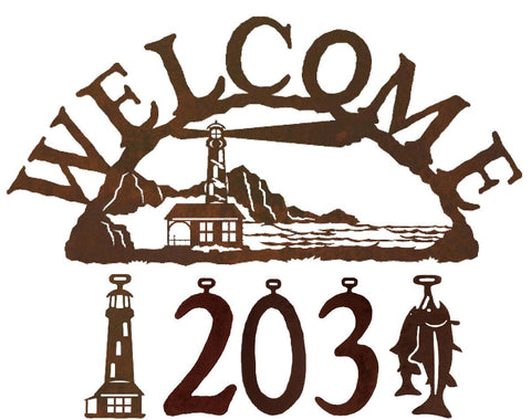 Our Lighthouse Handcrafted Metal Welcome Address Sign  will be a great addition to your beach inspired home