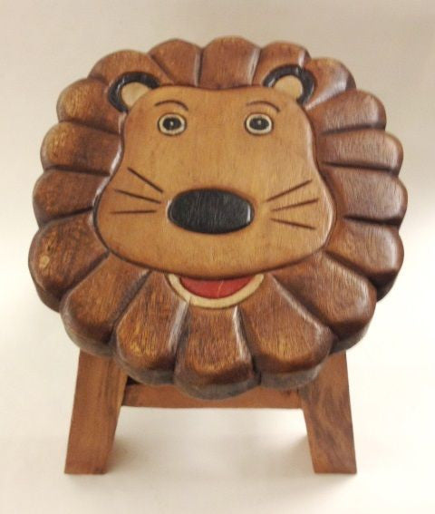 Lennard the Lion Hand Carved and Hand Painted Wood Footstool for Children - inthegardenandmore.com